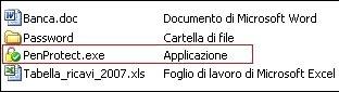 File all'interno della propria Pen Drive o Chiavetta. PenProtect.exe è un un piccolo file di circa 1 MByte e non necessita di installazione. Fare clic sull'immagine per ingrandirla