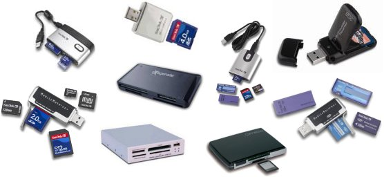 Images of some readers of cards USB. PenProtect works also on these devices because it recognizes them like normal Flash Drive, Pen Drive or Flash Memory