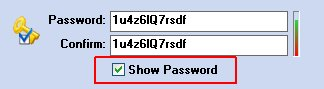 "In order to view the data entered in the fields Password and Confirm you need to select the option highlited with a red rectangle ""password clear"""