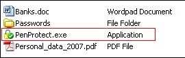 Files on your Pen Drive PenProtect.exe is a single file very small! Click to enlarge the image