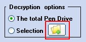 Through the button, highlighted by the red square, you can select the files to unprotect or decrypt that are present in the Flash Drive, Pen Drive or Flash Memory